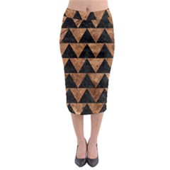 Triangle2 Black Marble & Brown Stone Midi Pencil Skirt by trendistuff