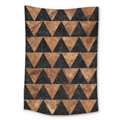 Triangle2 Black Marble & Brown Stone Large Tapestry by trendistuff