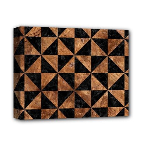 Triangle1 Black Marble & Brown Stone Deluxe Canvas 14  X 11  (stretched) by trendistuff