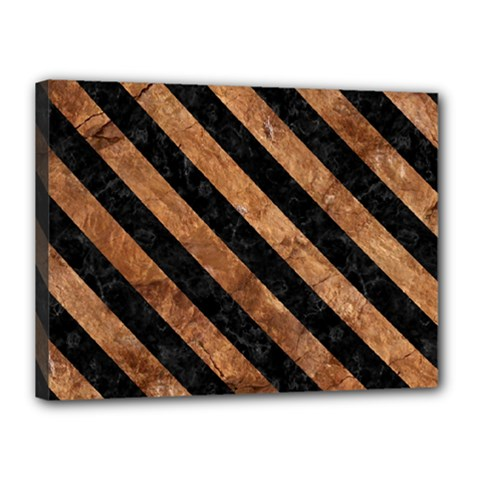 Stripes3 Black Marble & Brown Stone (r) Canvas 16  X 12  (stretched) by trendistuff