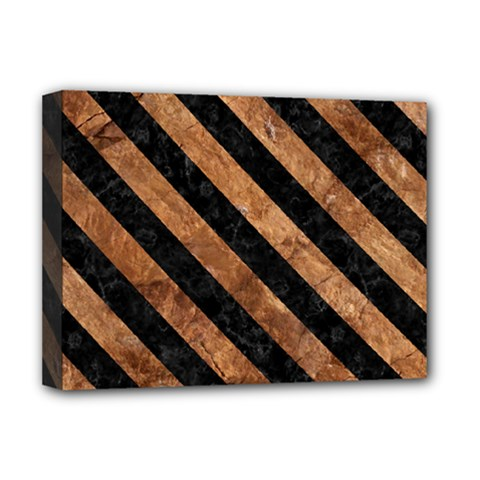 Stripes3 Black Marble & Brown Stone (r) Deluxe Canvas 16  X 12  (stretched)  by trendistuff
