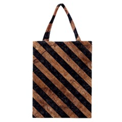 Stripes3 Black Marble & Brown Stone (r) Classic Tote Bag by trendistuff