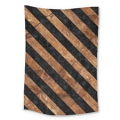 Stripes3 Black Marble & Brown Stone (r) Large Tapestry by trendistuff