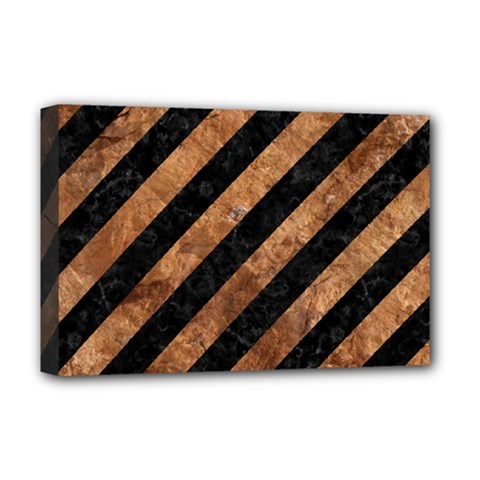 Stripes3 Black Marble & Brown Stone Deluxe Canvas 18  X 12  (stretched) by trendistuff