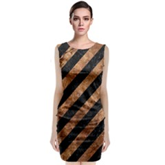 Stripes3 Black Marble & Brown Stone Classic Sleeveless Midi Dress