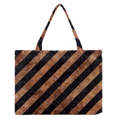 Stripes3 Black Marble & Brown Stone Medium Zipper Tote Bag by trendistuff