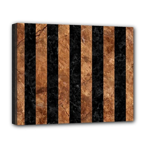 Stripes1 Black Marble & Brown Stone Deluxe Canvas 20  X 16  (stretched) by trendistuff