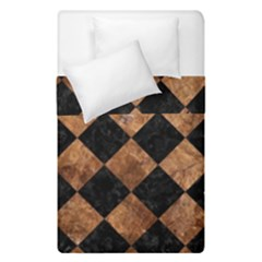 Square2 Black Marble & Brown Stone Duvet Cover Double Side (single Size) by trendistuff
