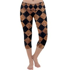 Square2 Black Marble & Brown Stone Capri Yoga Leggings