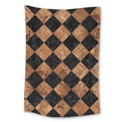 Square2 Black Marble & Brown Stone Large Tapestry by trendistuff