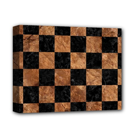Square1 Black Marble & Brown Stone Deluxe Canvas 14  X 11  (stretched) by trendistuff