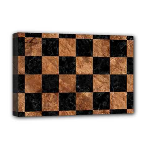 Square1 Black Marble & Brown Stone Deluxe Canvas 18  X 12  (stretched) by trendistuff