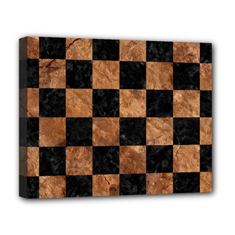 Square1 Black Marble & Brown Stone Deluxe Canvas 20  X 16  (stretched) by trendistuff