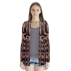 Skin2 Black Marble & Brown Stone Drape Collar Cardigan by trendistuff
