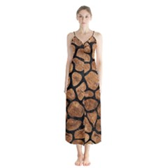 Skin1 Black Marble & Brown Stone Button Up Chiffon Maxi Dress