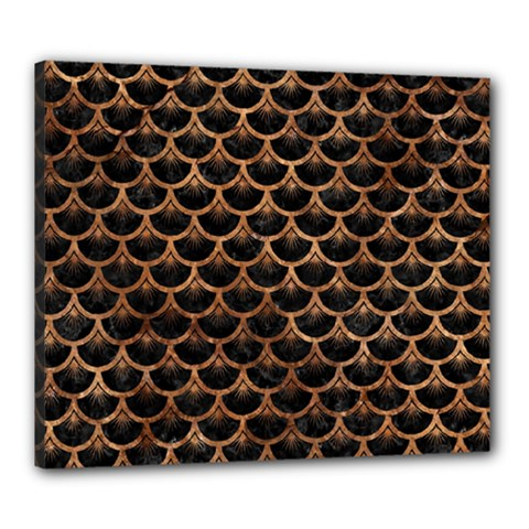 Scales3 Black Marble & Brown Stone Canvas 24  X 20  (stretched) by trendistuff