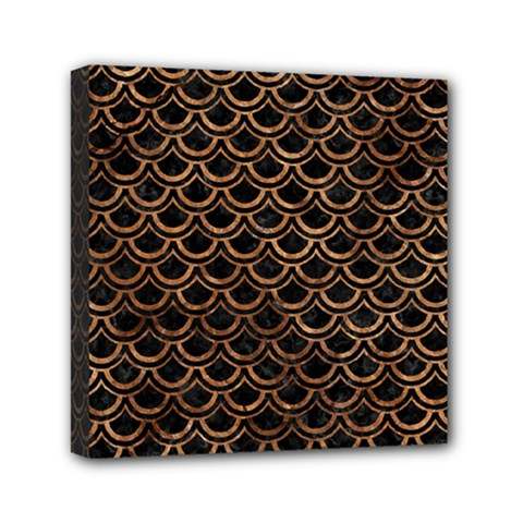 Scales2 Black Marble & Brown Stone Mini Canvas 6  X 6  (stretched) by trendistuff