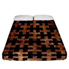 Puzzle1 Black Marble & Brown Stone Fitted Sheet (california King Size) by trendistuff