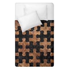 Puzzle1 Black Marble & Brown Stone Duvet Cover Double Side (single Size) by trendistuff