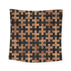 Puzzle1 Black Marble & Brown Stone Square Tapestry (small) by trendistuff