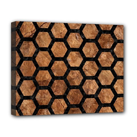 Hexagon2 Black Marble & Brown Stone (r) Deluxe Canvas 20  X 16  (stretched) by trendistuff