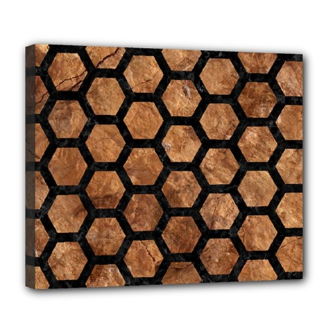 Hexagon2 Black Marble & Brown Stone (r) Deluxe Canvas 24  X 20  (stretched) by trendistuff
