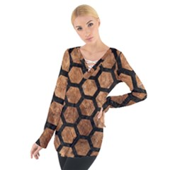 Hexagon2 Black Marble & Brown Stone (r) Tie Up Tee