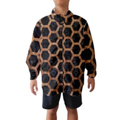 Hexagon2 Black Marble & Brown Stone Wind Breaker (kids) by trendistuff