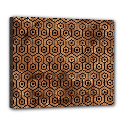 Hexagon1 Black Marble & Brown Stone (r) Deluxe Canvas 24  X 20  (stretched) by trendistuff