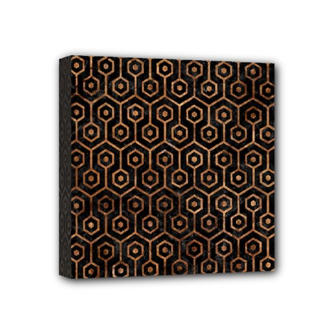Hexagon1 Black Marble & Brown Stone Mini Canvas 4  X 4  (stretched) by trendistuff
