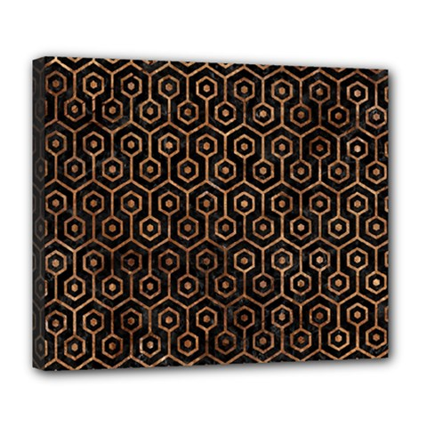 Hexagon1 Black Marble & Brown Stone Deluxe Canvas 24  X 20  (stretched) by trendistuff