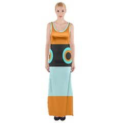 Orange, Aqua, Black Spots And Stripes Maxi Thigh Split Dress by digitaldivadesigns