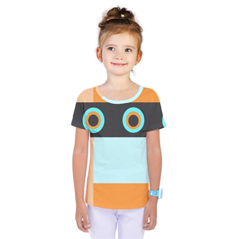 Orange, Aqua, Black Spots And Stripes Kids  One Piece Tee by digitaldivadesigns