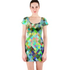 Pixel Pattern A Completely Seamless Background Design Short Sleeve Bodycon Dress