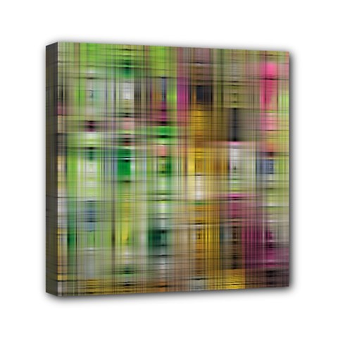 Woven Colorful Abstract Background Of A Tight Weave Pattern Mini Canvas 6  X 6  by Nexatart