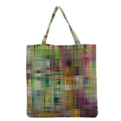 Woven Colorful Abstract Background Of A Tight Weave Pattern Grocery Tote Bag by Nexatart