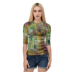 Woven Colorful Abstract Background Of A Tight Weave Pattern Quarter Sleeve Tee