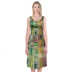 Woven Colorful Abstract Background Of A Tight Weave Pattern Midi Sleeveless Dress
