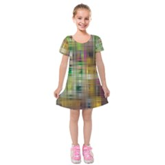 Woven Colorful Abstract Background Of A Tight Weave Pattern Kids  Short Sleeve Velvet Dress