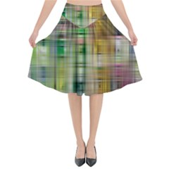 Woven Colorful Abstract Background Of A Tight Weave Pattern Flared Midi Skirt by Nexatart