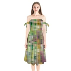 Woven Colorful Abstract Background Of A Tight Weave Pattern Shoulder Tie Bardot Midi Dress by Nexatart