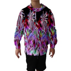 Fractal Fireworks Display Pattern Hooded Wind Breaker (kids)