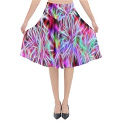 Fractal Fireworks Display Pattern Flared Midi Skirt