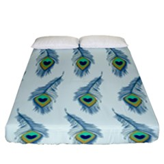 Background Of Beautiful Peacock Feathers Fitted Sheet (king Size)