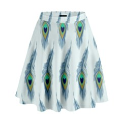 Background Of Beautiful Peacock Feathers High Waist Skirt by Nexatart