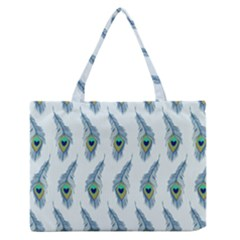Background Of Beautiful Peacock Feathers Medium Zipper Tote Bag by Nexatart
