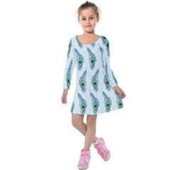 Background Of Beautiful Peacock Feathers Kids  Long Sleeve Velvet Dress by Nexatart