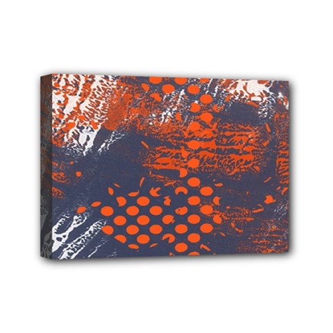 Dark Blue Red And White Messy Background Mini Canvas 7  X 5