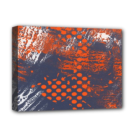 Dark Blue Red And White Messy Background Deluxe Canvas 16  X 12   by Nexatart