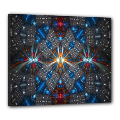 Fancy Fractal Pattern Background Accented With Pretty Colors Canvas 24  X 20  by Nexatart